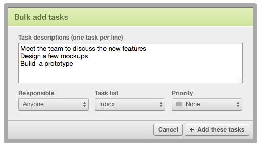 Bulk add task form